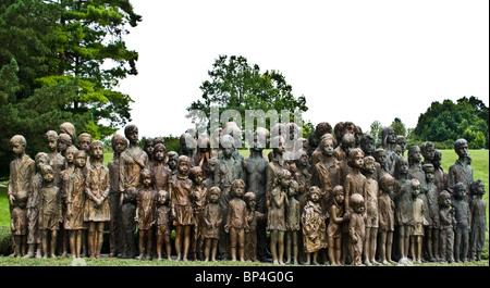 Bronze statues of 82 children massacred during WWii at Lidice near Prague Czech Republic Europe - Stock Photo