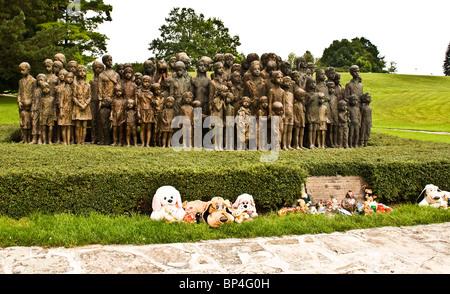 Bronze statues of 82 children massacred during WW 11 at Lidice near Prague Czech Republic Europe - Stock Photo