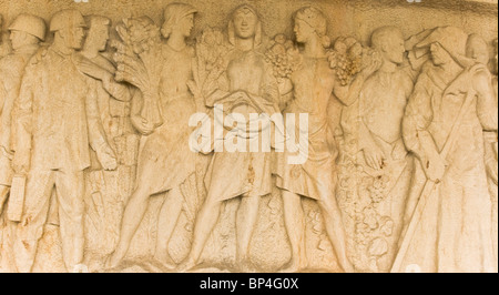 Sandstone carving sculpture in memory of those massacred during World war Two at Lidice near Prague Czech Republic - Stock Photo