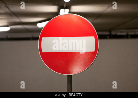 No Entry sign in an indoor parking garage - Stock Photo