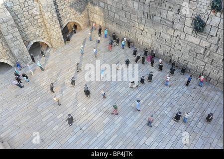 Model of the wailing wall in Mini Israel, Latrun Israel - Stock Photo