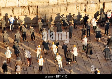 Model of the western wall kotel wailing Jerusalem aerialMini Israel National Park - Stock Photo