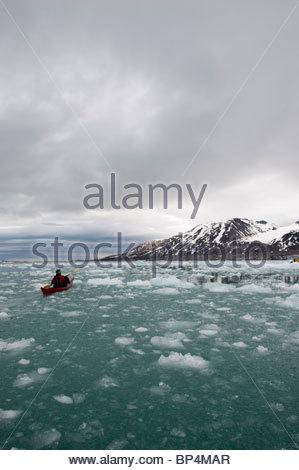Monaco Glacier in spitsbergen - Stock Photo