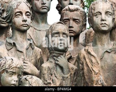 Detail of Bronze statues of 82 children massacred in World war two at Lidice near Prague Czech Republic Europe - Stock Photo