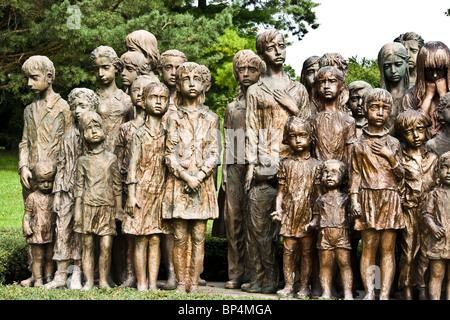 Some of the Bronze sculptures of 82 children massacred in World war ii at Lidice near Prague Czech Republic Europe - Stock Photo