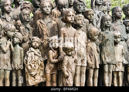 Some of the Bronze statues of 82 children massacred in World war ii at Lidice near Prague Czech Republic Europe - Stock Photo