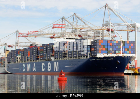 DP World ABP Southampton marine container terminal southern England UK the CMA CGM Christophe Colomb container ship - Stock Photo