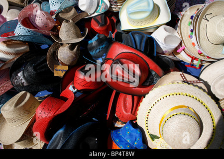 Hats for sale in a street shop in Cholula, Puebla State, Mexico, September 17, 2007. - Stock Photo