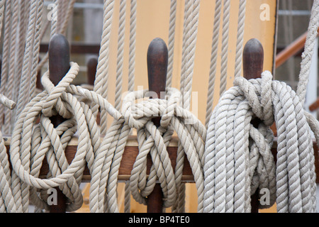 Ropes and Rigging on a sail ship - Stock Photo