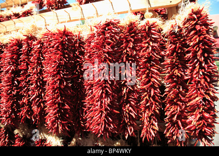 Dried Red Chilies, Chili Ristras, Santa Fe, New Mexico, USA - Stock Photo
