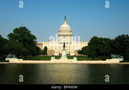 The western front side of the United States Capitol with the central dome, Washington, D.C., USA - Stock Photo