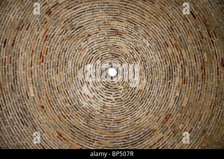 The inside of a domed brick ceiling in the Bokhara market in Uzbekistan. - Stock Photo