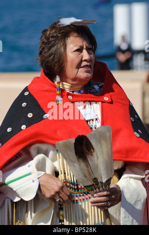 Female native American (Cheyenne) environmental activist in traditional costume. - Stock Photo