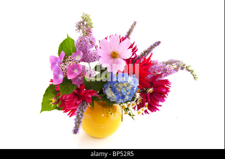 Garden flower bouquet with Hydrangea cosmos and others - Stock Photo