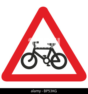 uk road sign cycle route path lane cyclists bike ahead - Stock Photo