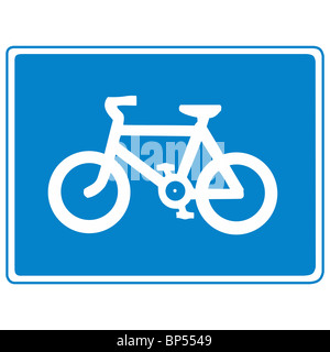 uk road sign cycle route path lane cycleway bike - Stock Photo