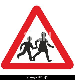uk road sign school playground children ahead - Stock Photo