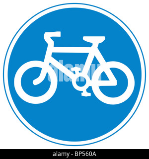 uk road sign cycling permitted cyclepath cycle path route - Stock Photo