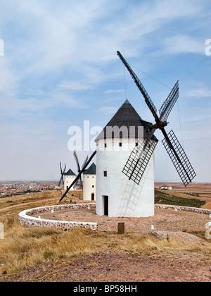 Windmills in a row at Alcázar de San Juan (La Mancha: Don Quixote's land) - Stock Photo