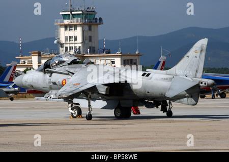 Spanish Navy AV-8B Harrier fighter jet at the French Navy base Hyeres. - Stock Photo