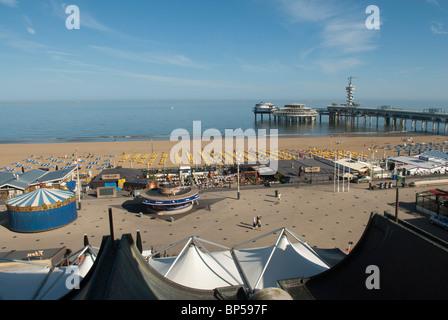 Beach and pier in Scheveningen, seen from the Kurhaus. Netherlands - Stock Photo