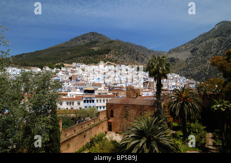View over Town of Chefchaouen from the Kasbah, Rif Mountains, Morocco - Stock Photo