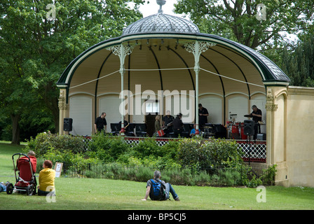 Musicians warming up for a concert in the Royal Victoria Park band stand part of the Bath Music Festival Bath Spa, - Stock Photo
