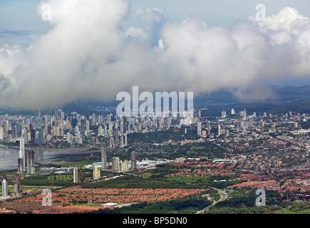 aerial view above skyline Panama City Republic of Panama - Stock Photo