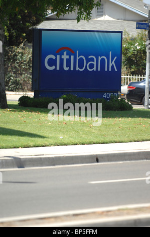 Citibank Sign in Orange, California.  Citibank is one of the largest full service banks in the world. - Stock Photo