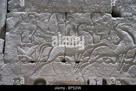 3539. EGYPTIAN WAR CHARRIOT. RELIEF IN THE GREAT TEMPLE OF MEDINET HABU DEPICTING THE BATTLES OF RAMSES III. (1195 - Stock Photo