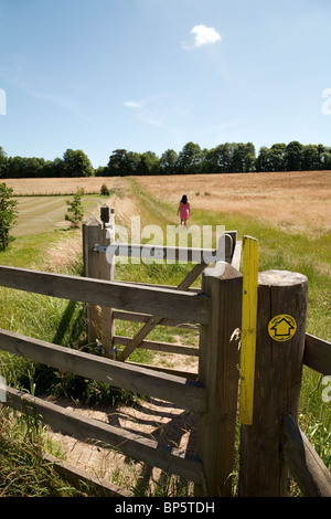 A young woman in a pink dress walking along a path in a field in english countryside in summer, Lyminge village - Stock Photo