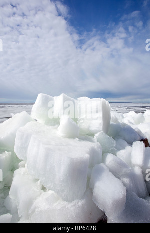 Melting ice blocks at seashore , Finland - Stock Photo