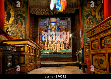 Interior of Pelkor Chode (Palcho Monastery), Gyantse, Tibet. China. 2010 - Stock Photo