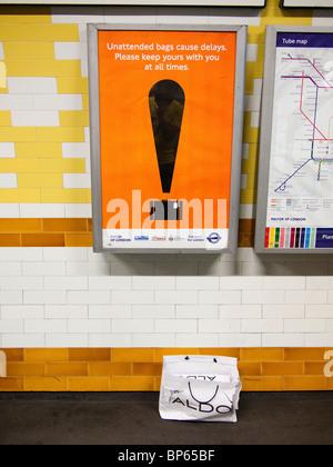 Unattended Bag Sign, London Underground - Stock Photo