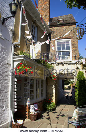 College Court in Gloucester, with the Beatrix Potter shop. UK. - Stock Photo