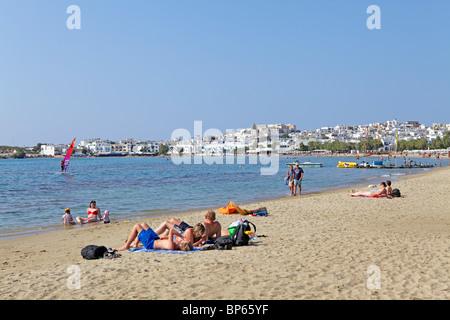 beach, Agios Georgios Bay near Naxos Town, Island of Naxos, Cyclades, Aegean Islands, Greece - Stock Photo