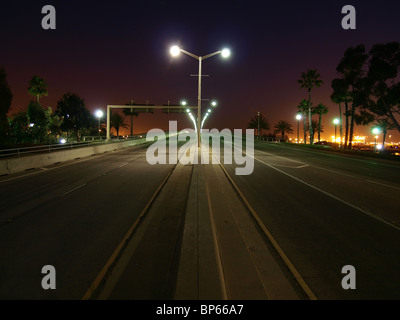 Palm trees line an open California highway at night. - Stock Photo