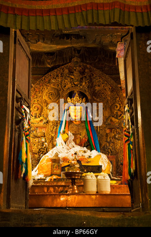 Buddha statue at Pelkor Chode (Palcho Monastery), Gyantse, Tibet. China. 2010 - Stock Photo