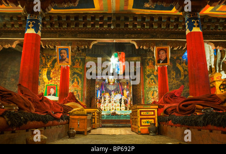 Recitation Hall at Pelkor Chode (Palcho Monastery), Gyantse, Tibet. China. 2010 - Stock Photo