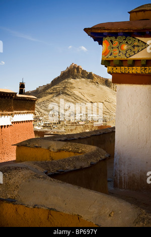 View of Dzong/Fortress from Gyantse Kumbum at Pelkor Chode Monastery in Gyantse, Tibet - Stock Photo