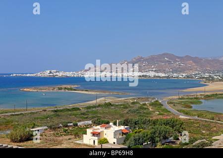 panoramic view of Naxos Town and Agios Georgios Bay, Island of Naxos, Cyclades, Aegean Islands, Greece - Stock Photo