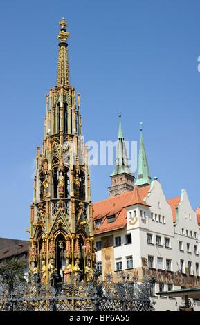 Schöner Brunnen (Beautiful Fountain) in Nuremberg, Bavaria, Germany - Stock Photo