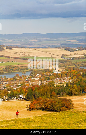 view of Linlithgow from Cockleroy Hill - Stock Photo