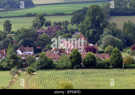 View over Turville village in summer, Buckinghamshire, England, UK - Stock Photo