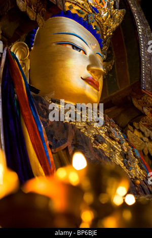 Buddha statue in Pelkor Chode (Palcho Monastery), Gyantse, Tibet. China. 2010 - Stock Photo