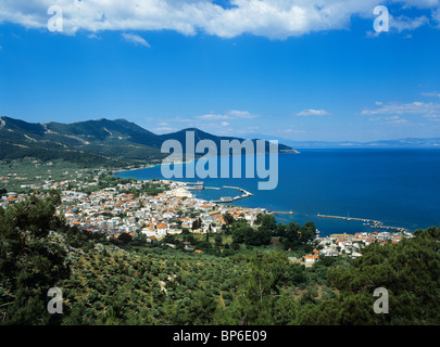 View over Thasos Town, the capital of Thassos, from a path leading up to the ancient amphitheatre - Stock Photo