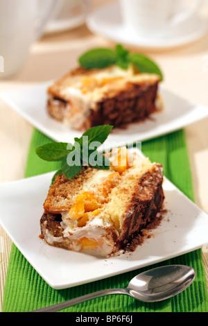 Tiramisu with peaches. Recipe available. - Stock Photo