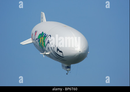 Airship dirigible Zeppelin NT, Friedrichshafen, Baden-Württemberg, Germany - Stock Photo