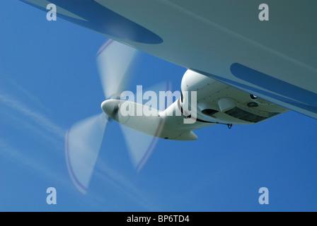 Details of motor and propeller of airship dirigible Zeppelin NT, Friedrichshafen, Baden-Württemberg, Germany - Stock Photo