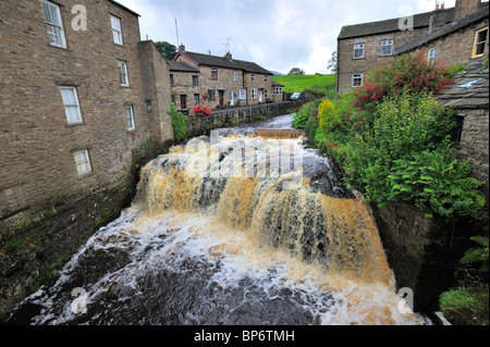 The waterfall on Gayle Beck, in the village of Hawes, in upper Wensleydale, Yorkshire - Stock Photo
